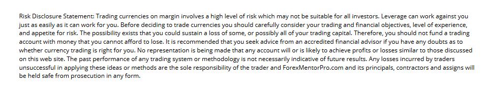 forex mentorpro risk disclosure
